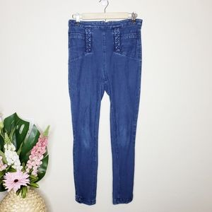 Ecote UO High-Rise Braided Jeans Rinsed Denim